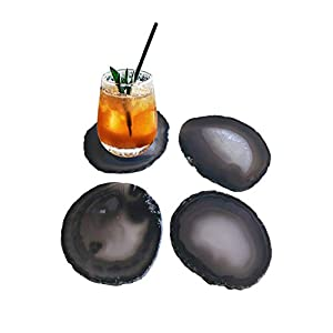 """Natural Black Agate Coasters Set of 4 Tabletop Protection Polished Agate Stone Sciles 3-3.5"""""""