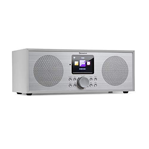 auna Silver Star Stereo Internet DAB+ / UKW Radio - Internet-Radio mit WLAN, Küchenradio, Bluetooth, 2 x 8 Watt RMS, USB, App-Steuerung, AUX, Weckfunktion, inkl. Fernbedienung, weiß
