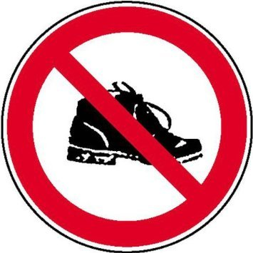 INDIGOS UG - Aufkleber - Schuhverbot Verbotsschild - Folie - Sticker - Größe 20cm - Tempel Moschee - Schuhe verboten Teppich - Wohnung Geschäft