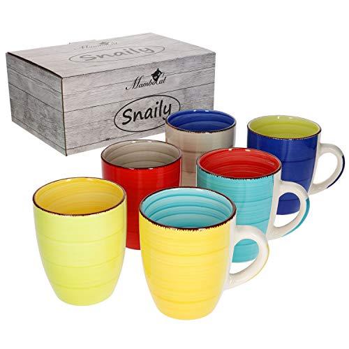 MamboCat Malaga Snaily 6-TLG. Kaffeebecher Set bunt I 6 Farben I für 6 Personen I 300 ml I Steingut