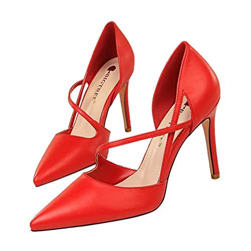 Minetom Damen Frau High Heels Bequeme Sandaletten Sommer Sandalen Absatzschuhe Sexy Schuhe Partyschuhe Offene Sommerschuhe 34-40 Sommerschuhe Für Modebewusste Frau A Rot 35 EU