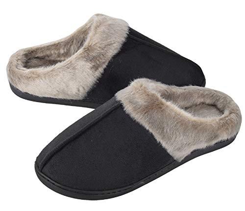 UMIPUBO Hombre Zapatillas Casa Mujer Invierno Antideslizantes Espuma de Memoria de Alta Densidad Cálido Interior al Aire Libre Forro de Felpa Suela Antideslizante Zapatos (Mujer Negra, Numeric_37)