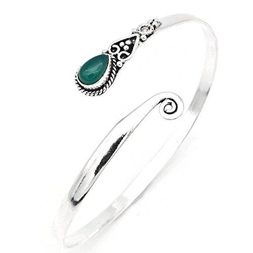 mantraroma Armreif Armband versilbert silbern Grüner Onyx grün (922-05-021-14)
