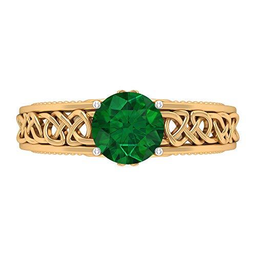 Anello solitario 7 mm con smeraldo, nodo celtico, anello di fidanzamento, in oro massiccio, 14K Giallo oro, Size:EU 55