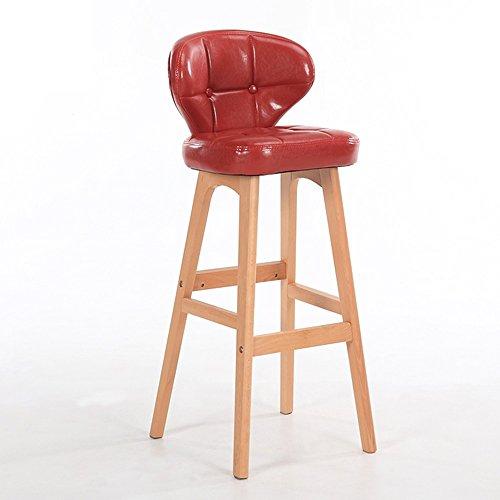 Chaises de bar en bois massif, tabouret haut simple moderne, chaise de barre de dossier, tabouret de bar caissier à la maison, haut tabouret de réception (Couleur : Rouge)