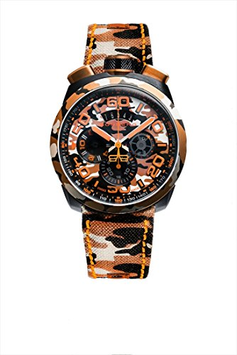 Bomberg Herren-Armbanduhr Bolt-68 Camouflage Sahara Special Edition Chronograph Datum Analog Quarz BS45CHPCA.047.3