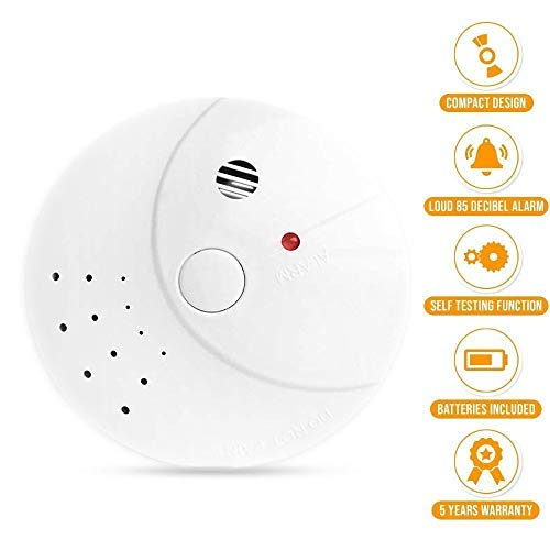 Photoelectric Smoke Detector Fire Alarm Battery-Operated 2 Pack