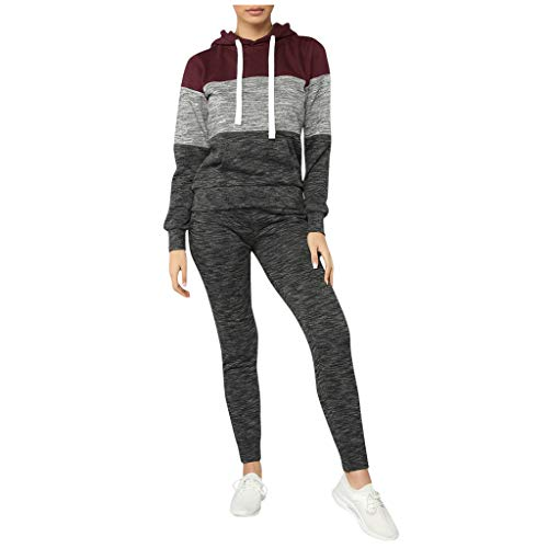 Fantastic Prices! Missli 2Pcs Women Tracksuit Outfit Casual Color Block Long Sleeve Hoodie Pullove S...