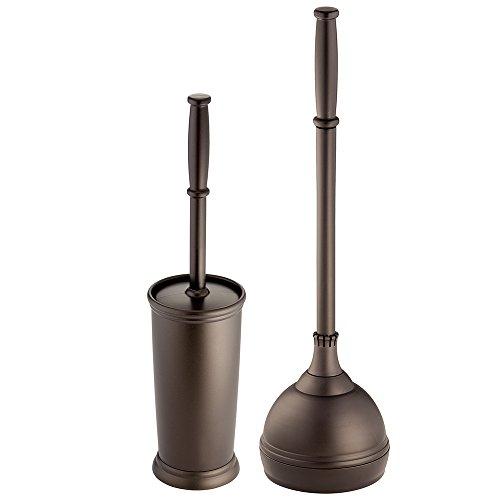 InterDesign Kent - Escobilla de baño y Soporte para Inodoro, Set de 2 Piezas, Bronce, Juego de 2, 1, 2