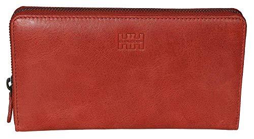 Elbleder Damen Geldbeutel Leder Rot Vintage Reißverschluss RFID Schutz lang groß viele Fächer hochwertig Geldbörse Portemonnaie Portmonaise Reißverschlussbörse Ledergeldbeutel Portmonee