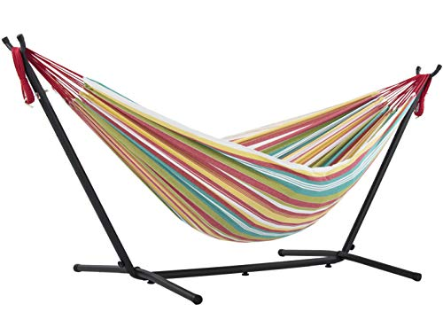 Vivere Double Cotton Hammock with Space Saving Steel Stand, Salsa (450 lb Capacity - Premium Carry...