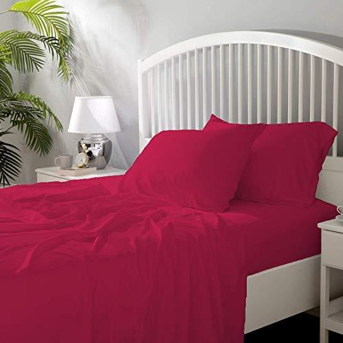 Juego de sábanas de 4 piezas suave y lujoso, 100% algodón Giza 6-7 (20 cm) de bolsillo profundo, patrón sólido de 650 hilos, todos los tamaños y colores (doble pequeño, rosa caliente).