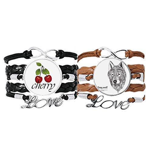 Bestchong Gray Wolf Friend Company Gentleman Bracelet Hand Strap Leather Rope Cherry Love Wristband Double Set