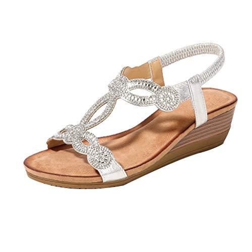Sandalias Mujer Verano 2019 Zapatos de Plataforma Mujer Cuña Zapatos de Boca de Pescado Playa Zapatillas Sandalias de Punta Abierta Casual Fiesta Bohemia Tacones Altos Sandalias vpass