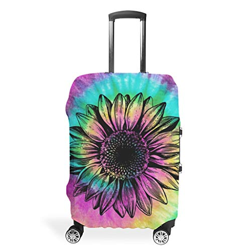 Luggage Cover Rainbow Color spiral tie dye & sunflower Anti-scratch Suitcase Protector for 26'-28' Luggage white xl (76x101cm)