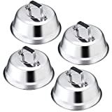 Melting Dome Lid Set of 4, Leonyo 9' Professional Stainless Steel Griddle Accessories, Durable Basting Steaming Cover for Teppanyaki Flat Top Griddle Grill, Rivets Handle, Hamburger Bacon Cheese Steak