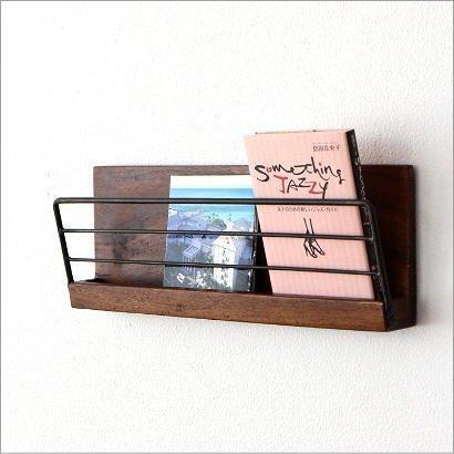 壁掛け 棚 ウォールラック 木製 アイアン ウォールシェルフ マガジンラック アイアンとウッドの壁掛けラッ...