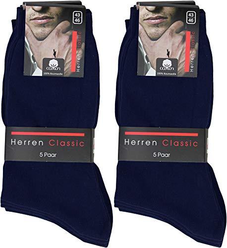Pagel Strumpfimporte Herren Socken 100prozent Baumwolle navy/blau handgekettelt (10, 43-46)