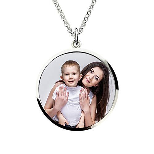 Bo&Pao Kette Damen Halskette mit Foto und Textgravur 925 Sterling Silber, personalisierte Kette mit rund Foto Anhänger