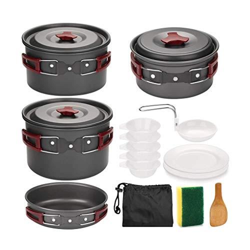 ZLDGYG JJCDY - Juego de utensilios de cocina para acampar al aire libre, antiadherente, sartenes y ollas para senderismo, picnic
