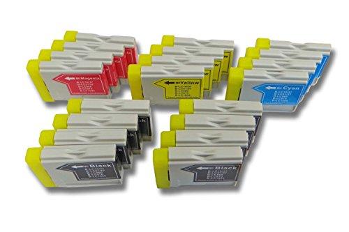 20 x vhbw Druckerpatronen Tintenpatronen Set für Brother Brother DCP-350C, DCP-357c, DCP-540C wie LC-970BK, LC-970C, LC-1000M, LC-1000Y.