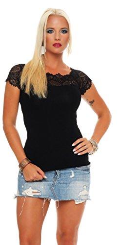 Mississhop Damen Spitzenshirt Spitze Spitzen T-Shirt Bluse Shirt Langarmshirt Kurzarmshirt, Schwarz/Kurzarm, Einheitsgröße