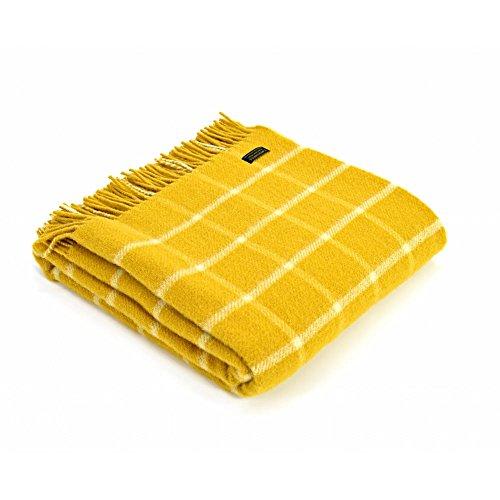 Tweedmill Textiles Decke aus 100 % reiner Wolle, kariert, Überwurf, Gelb