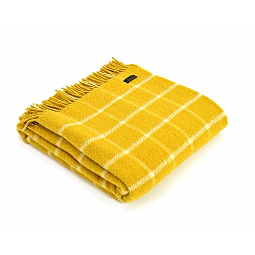 Tweedmill Textiles 100% Pure Wool Blanket Chequered Check Throw Design in Yellow Made in UK