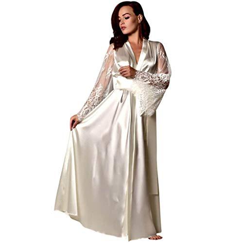 Deloito Damen Satin Nachthemd Bademantel Unterwäsche Seiden Spitze Schlafanzug Dessous Lange Robe Nachtwäsche Reizwäsche Nachtkleid Pyjamas (Weiß,Small)