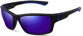 QWKLNRA - Gafas De Sol para Hombre Lente Azul Marco Negro Y Azul Polarizado Gafas De Sol Deportivas Deportivas Gafas De Sol Deportivas para Hombre Gafas De Sol Deportivas Sports Bike Sunglasses Hombre