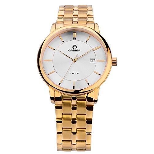 Casima Hombres Clásico Reloj de cuarzo banda de acero inoxidable de cuarzo muñeca relojes cr-5129-g8
