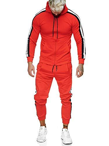 Code47 | Herren Trainingsanzug | Jogginganzug | Sportanzug | Jogging Anzug | Hoodie-Sporthose | Jogging-Anzug | Trainings-Anzug | Jogging-Hose | Modell JG-1084 Rot-Schwarz M
