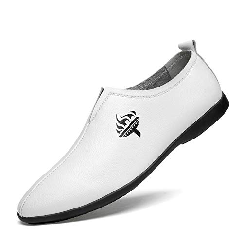 GPF-fei Herrenschuh Leder Faultiere Loafers Schuhe Driving Schuh runden Schuh Peas Schuhe Comfortable Fashion Wild Breathable Leisure,White,38