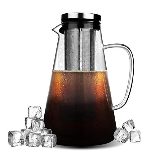 Phyismor Cold Brew Iced Coffee Maker15L/50oz Manual Iced Coffee Tea MakerBorosilicate Glass Carafe with Removable Stainless Steel Filter