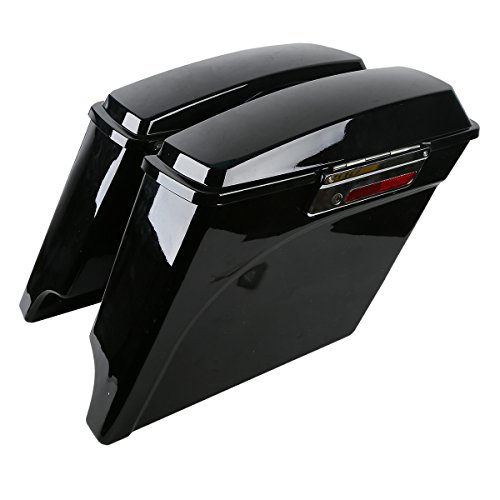 XMT-MOTO 5 Inch Vivid Black Stretched Extended Hard Saddlebags fits for Harley Touring Model 1993-2013