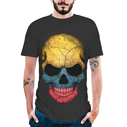 Mitlfuny Camiseta de Manga Corta para Hombre Verano Adolescente Cuello Redondo Negro Tops 3D Calavera Estampado Deportes Pullover tee Casual Moda Slim Algodón Camisa