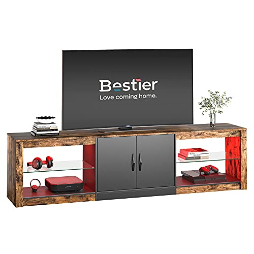 """Bestier 70""""Modern TV Stand 20 Color RGB Light Entertainment Center, Media Console 6 Storage Glass Shelves, Television Cabinet for TVs up to 75"""", for DVDs, Game Devices in The Living Room, Rustic Brown"""