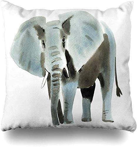 ZLXIONG Throw Pillow Covers Painterly Africa Watercolor Elephant White Wildlife Paint Expressionism Artist Artistic Bishop Home Decor Cushion Cover Pillowcase,45X45Cm
