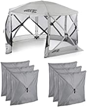 CLAM Quick-Set Escape 11.5' x 11.5' Portable Pop-Up Outdoor Camping Gazebo Screen Tent 6 Sided Canopy Shelter and Carry Bag with 6 Wind and Sun Panels