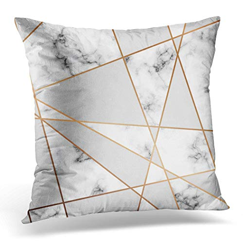 Topyee Funda de cojín de mármol dorado con líneas geométricas en blanco y negro con mármol moderno, 45 x 45 cm, decoración del hogar, funda de almohada cuadrada para sofá de cama