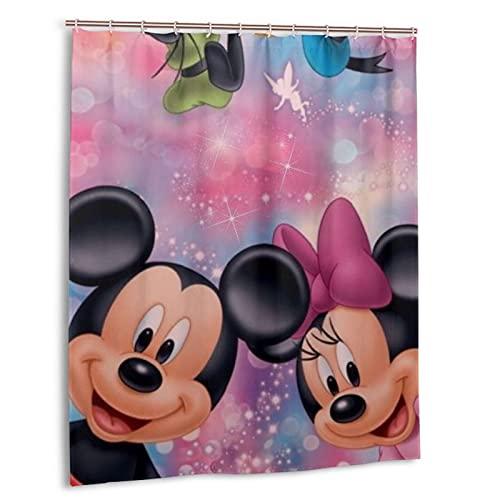 Mickey Minnie Cartoon Maus Donald Duck Duschvorhang Atmungsaktiv & Wasserdicht Badezimmer Duschvorhang aus Polyester Zwei Haken zur Auswahl 152,4 x 182,9 cm Kunststoff
