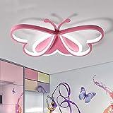 LAKIQ Lovely Butterfly LED Flush Mount Ceiling Light for Kids Room Modern Iron and Acrylic LED Ceiling Lamp Close to Ceiling Light Fixture for Bedroom Living Room (Pink,White Light)