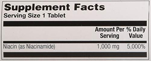 Nature's Life Niacinamide, 1000 mg   Non Flushing Vitamin B3 Niacin Supplement   100 Vegetarian Tablets