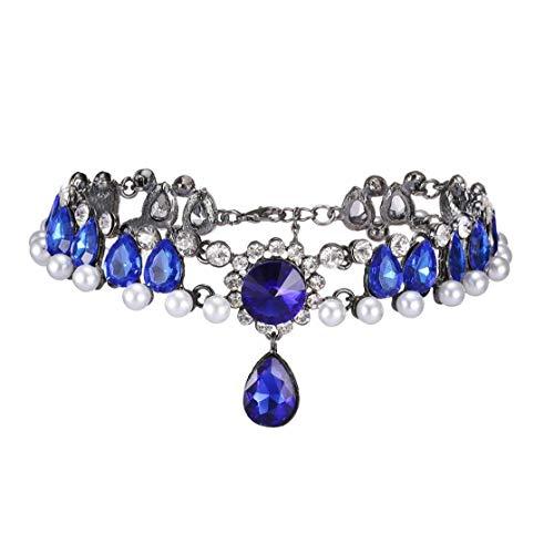 XKJFZ Collar Magnífico Collar Gótico Collar De Perlas Rhinestone Gargantilla Gargantilla Rhinestone Azul Collar De Perlas Corto Cuello De Las Mujeres De La Cadena del Suéter De Cuello Collar