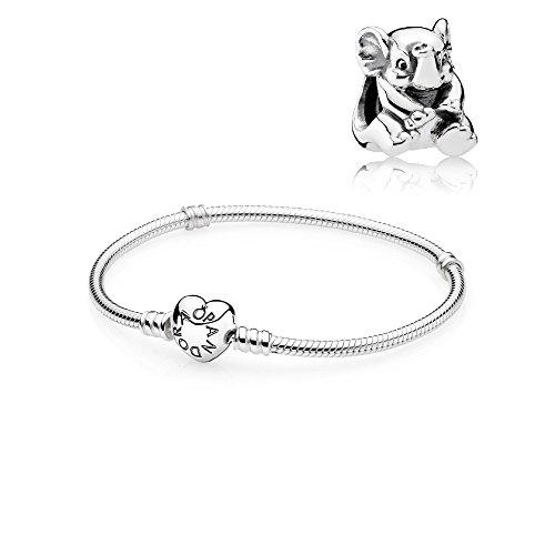 Pandora Original Geschenkset - 1 Silber Armband mit Herz Schließe 590719-17 und 1 Silber Charm 791902 Baby Elefant