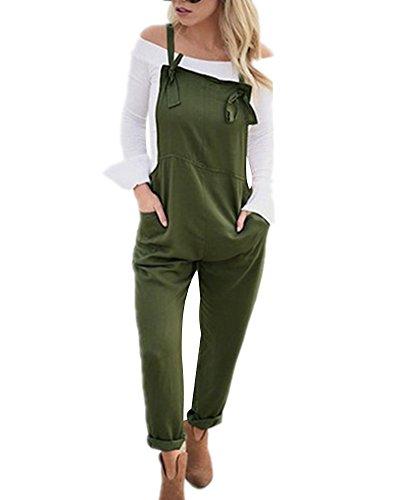 Tomwell Damen Retro Latzhose Overalls Jumpsuits Wide Leg Taschen Sommerhose Pants Armeegrün DE 38