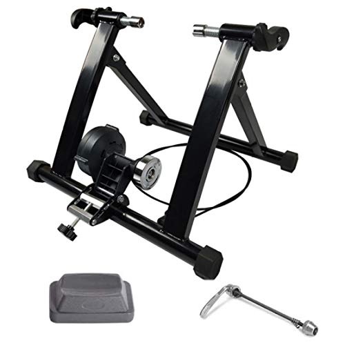 JLDN Bike Resistance Trainers, Bicycle Turbo Trainer with Front Wheel Riser Block Bike Trainer Stand Quiet Noise Reduction Indoor Bicycle Exercise Magnetic Stand,20-24 inch Wired