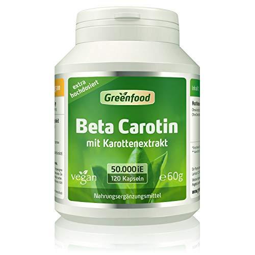 Beta Carotin, 50.000 i.E. (30 mg), 120 Vegi-Kapseln, hochdosiert - Vorstufe von Vitamin A (Augen, Hautschutz). Vegan.