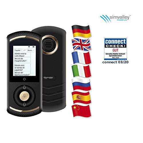 simvalley MOBILE Echtzeitübersetzer: Mobiler Echtzeit-Sprachübersetzer, 75 Sprachen, 4G/LTE, WLAN, schwarz (Live Übersetzer)