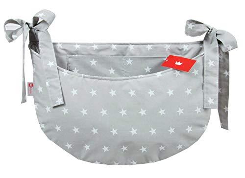 BABYLUX Babybetttasche Organizer BETTTASCHE Spielzeugtasche Tasche Babybett (91. Sterne Grau)